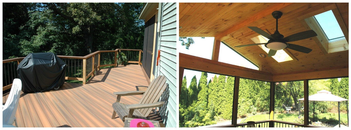Deck and screened porch project collage