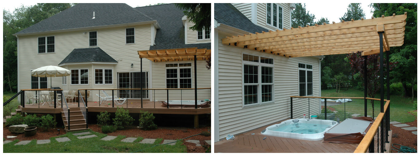Custom deck with pergola and hot tub