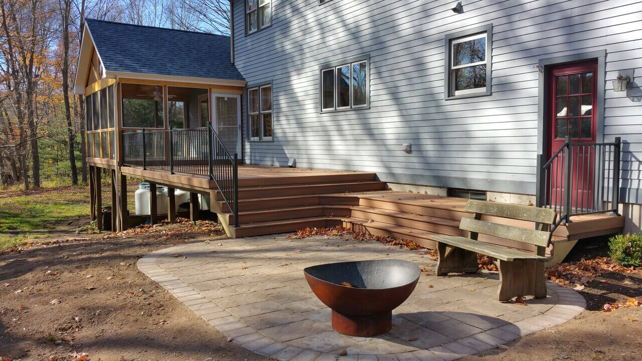 Screened porch, deck and patio combination