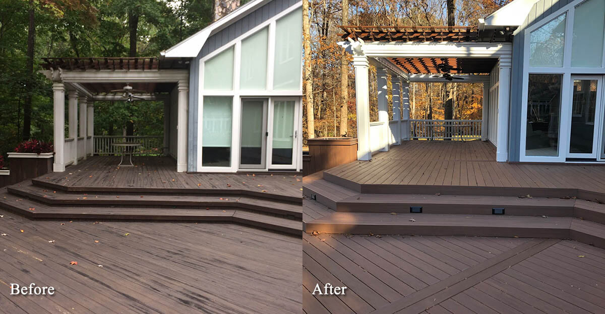 Before and after house deck
