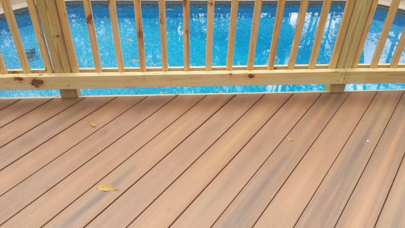 Wood deck detail and swimming pool view