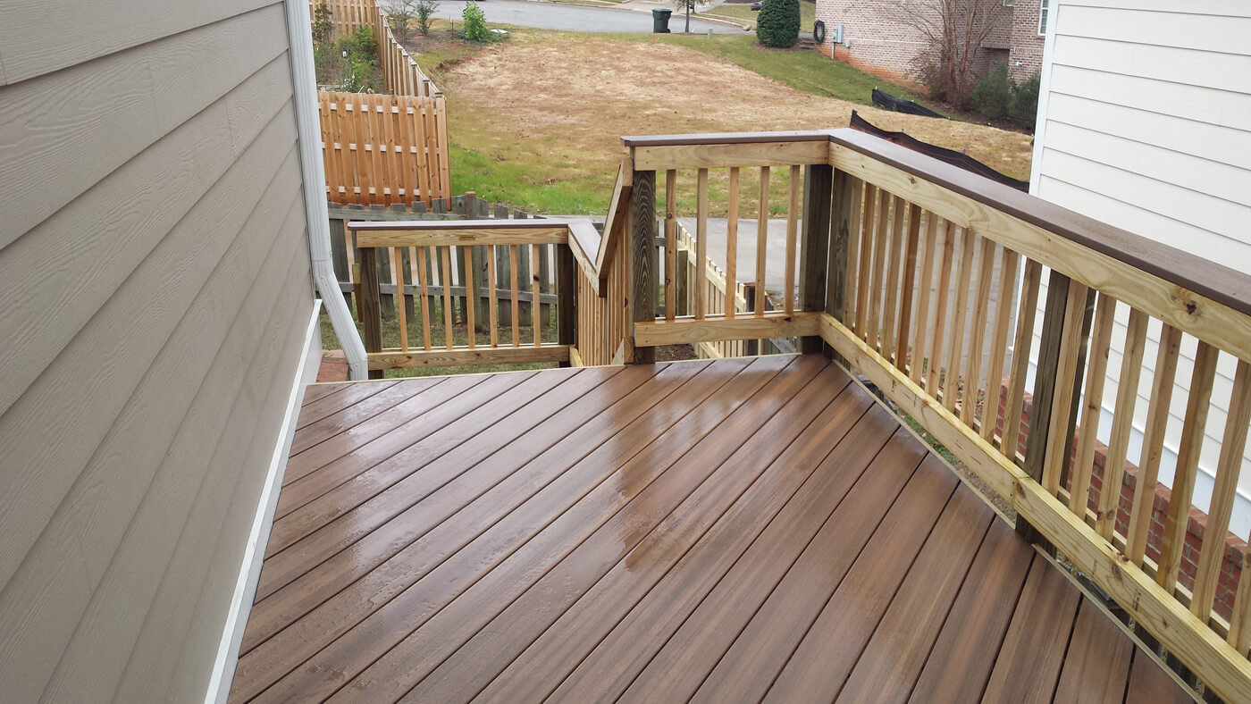 Custom wood deck with balusters