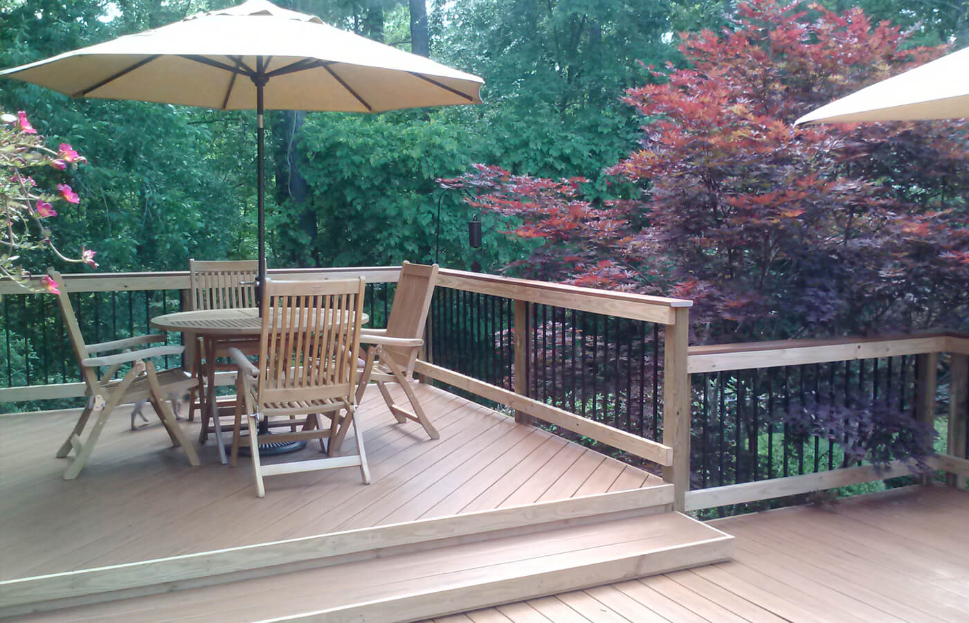 Custom wood deck with seating area