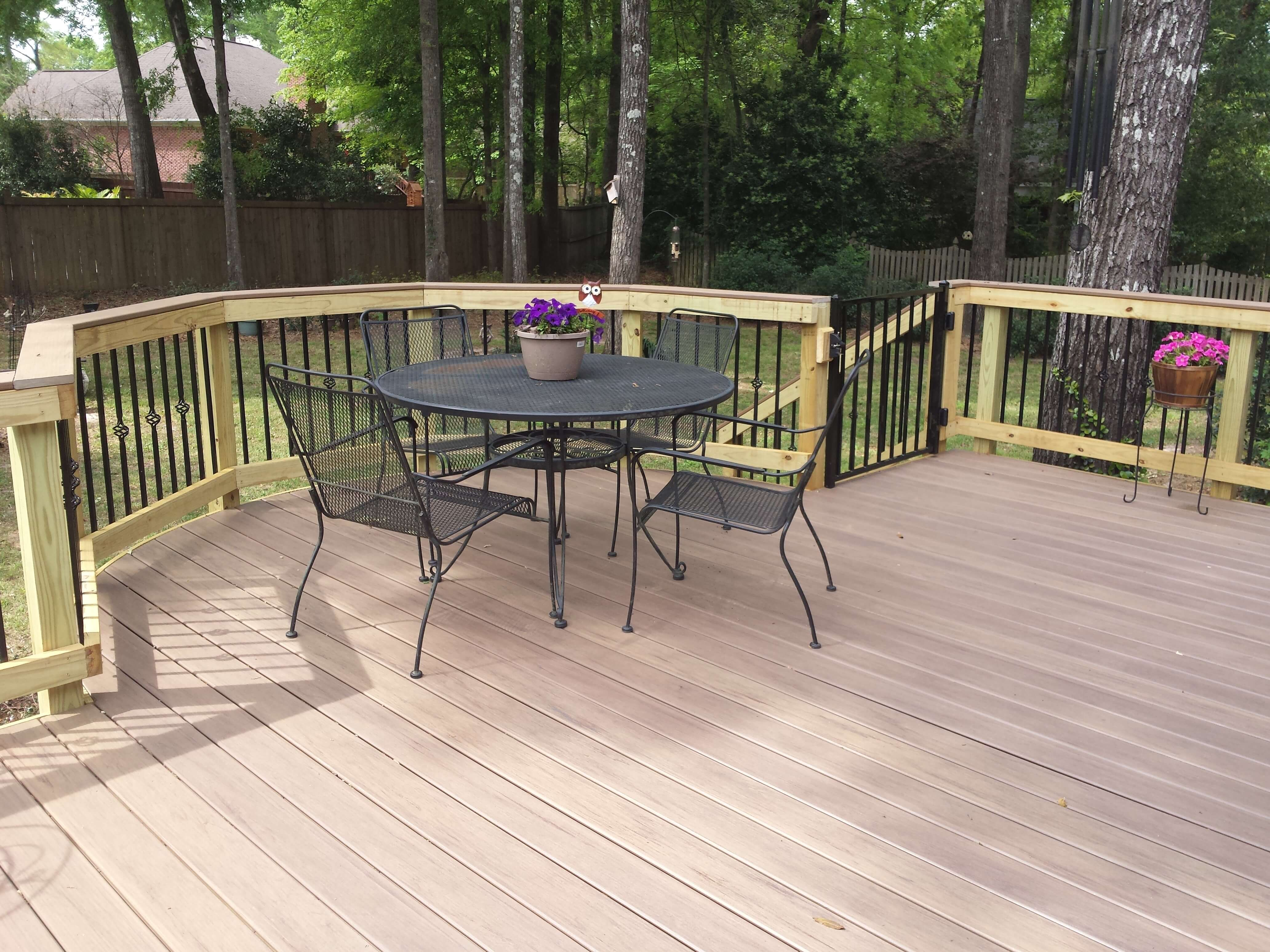 Backyard wood deck with seating area