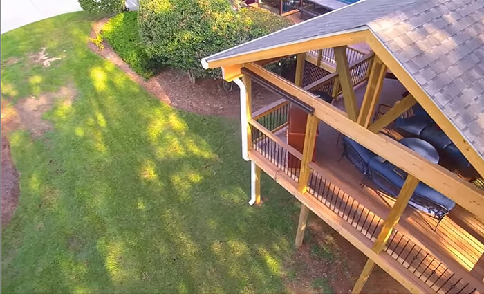 Top view of backyard open porch