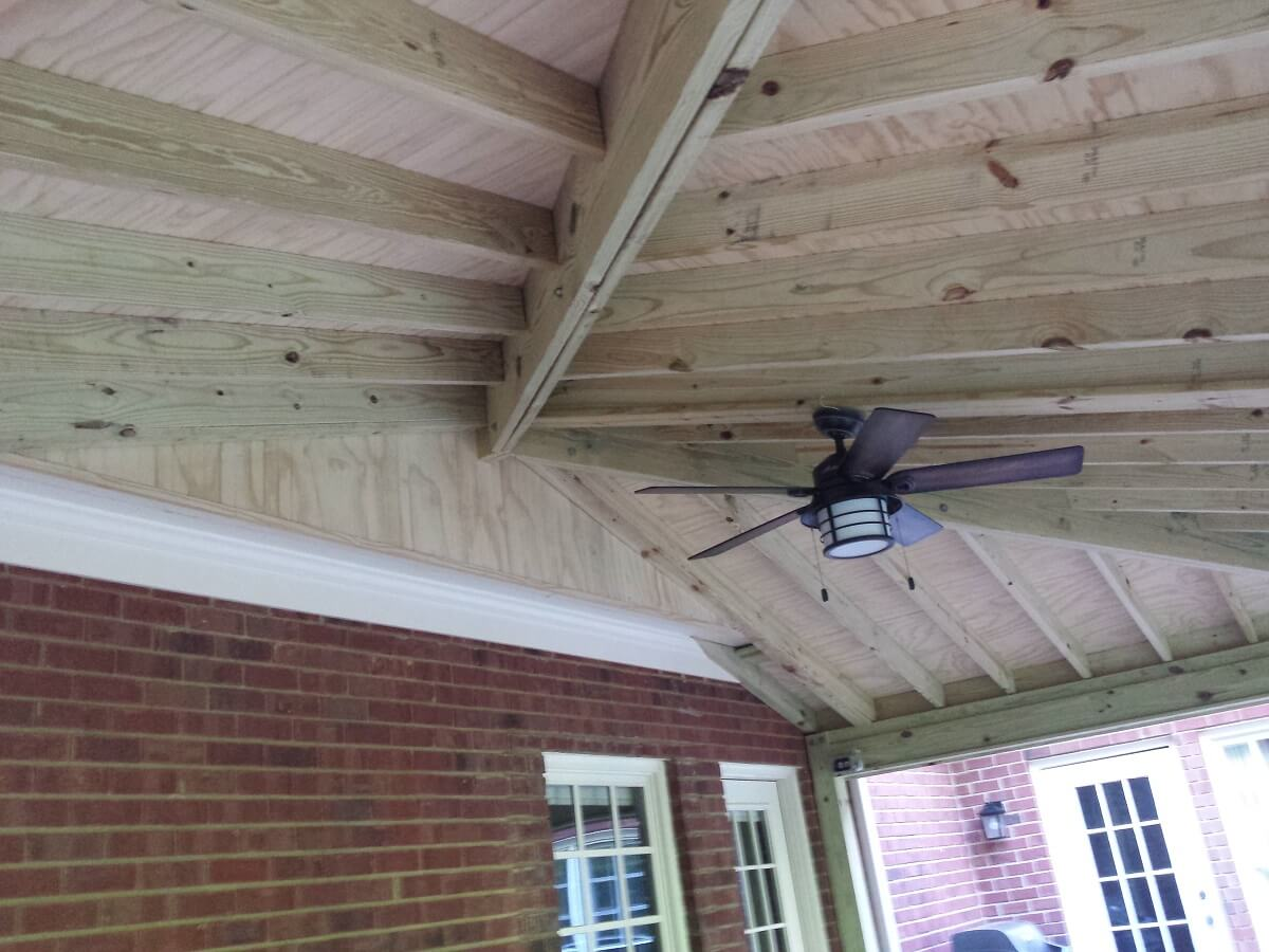 Open porch ceiling with fan