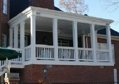 Open porch with white columns