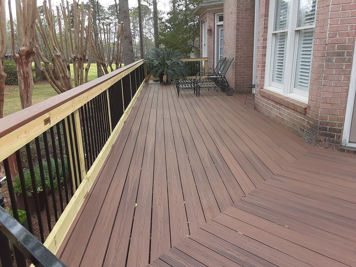 New backyard wood deck with lounge area