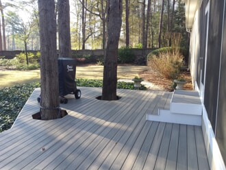 Fiberon deck built around trees