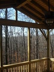 outdoor deck open to trees