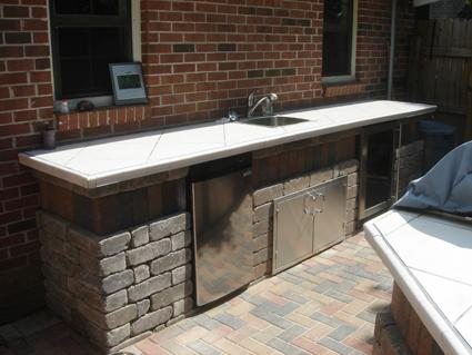 Outdoor kitchen bar and cooking area