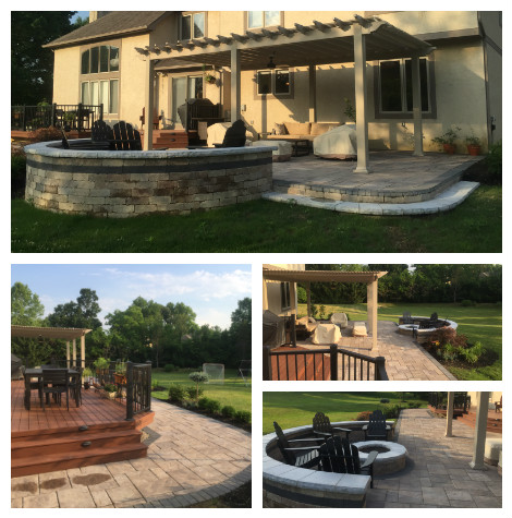 Multiple images of patios and fire pits