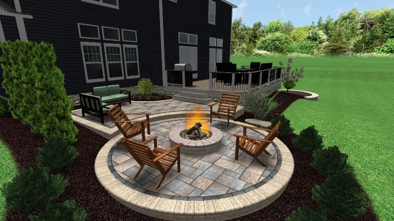 Patio and fire pit design image