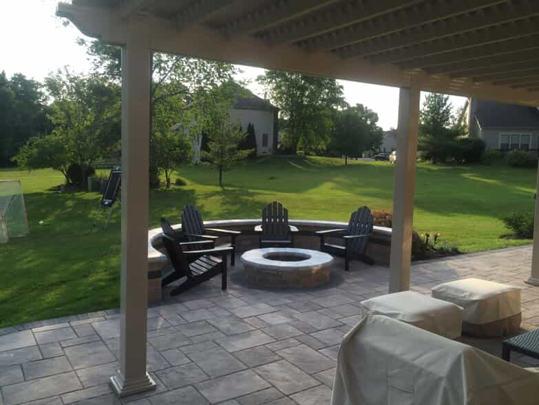Pergola with deck and patio furniture
