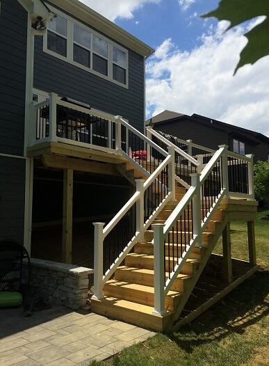 Deck stairs with railing