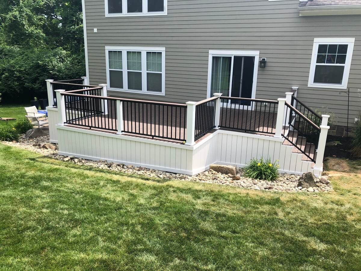 New backyard deck with railing