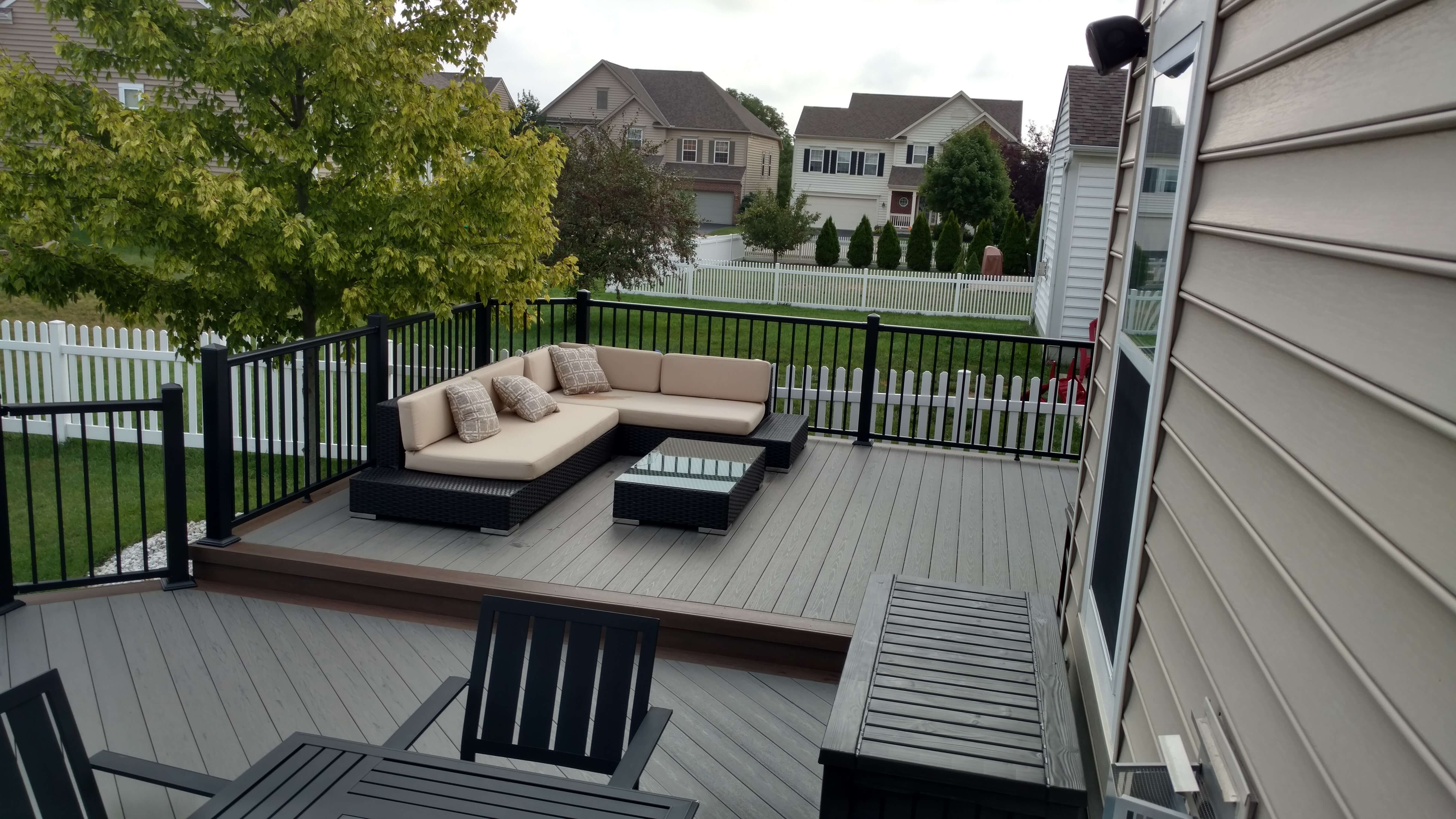 Custom deck with cozy seating area