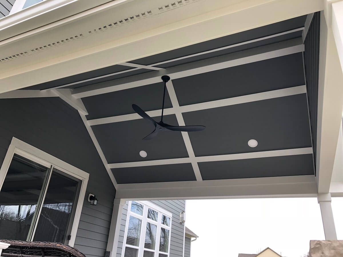 Porch ceiling detail with fan and lighting