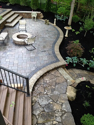 Custom fire pit on patio