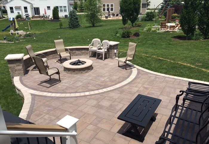 Custom backyard patio with fire pit