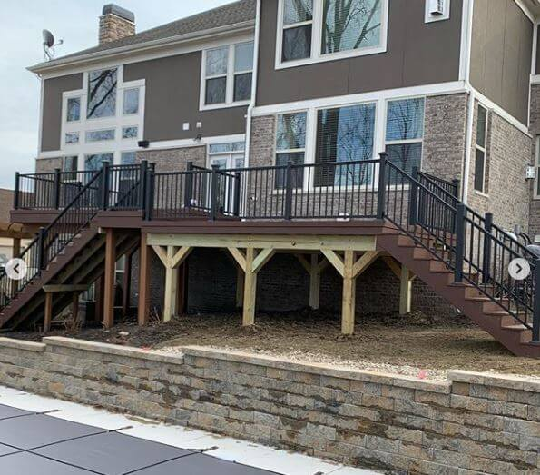 Custom multi-level deck with staircase