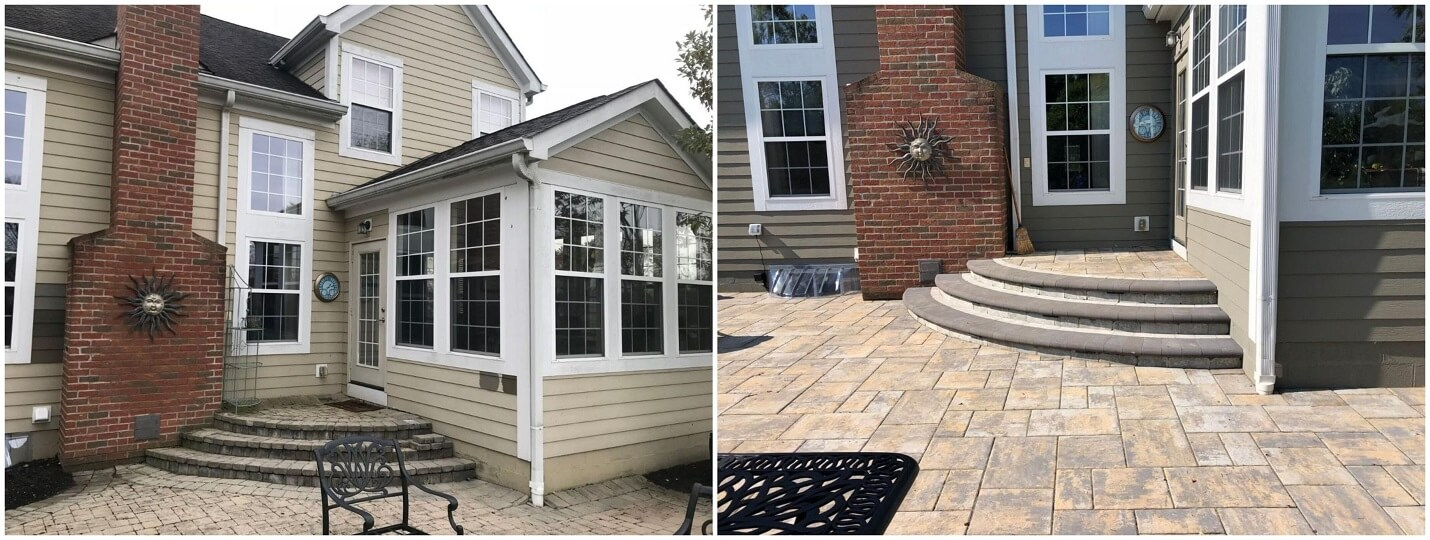 Before and after view of backyard patio
