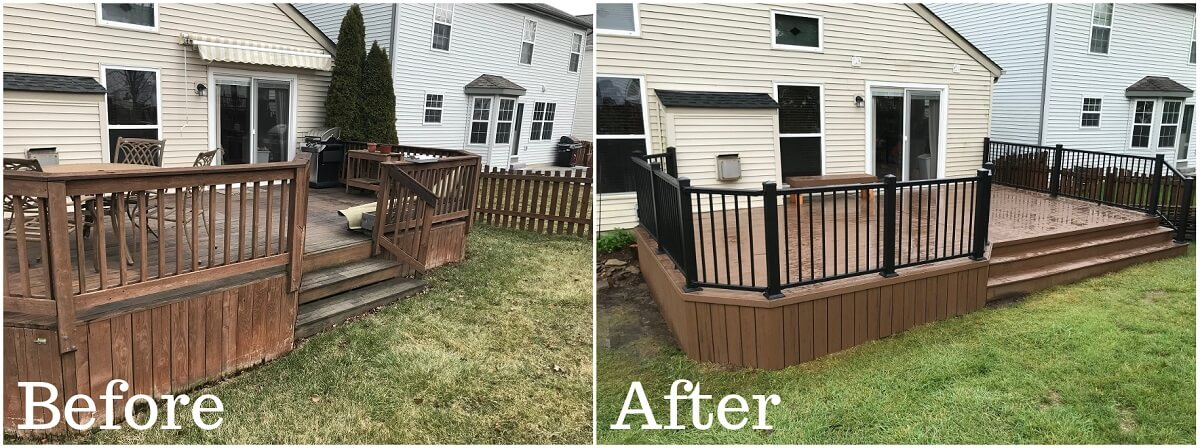 Before and after image of backyard wood deck