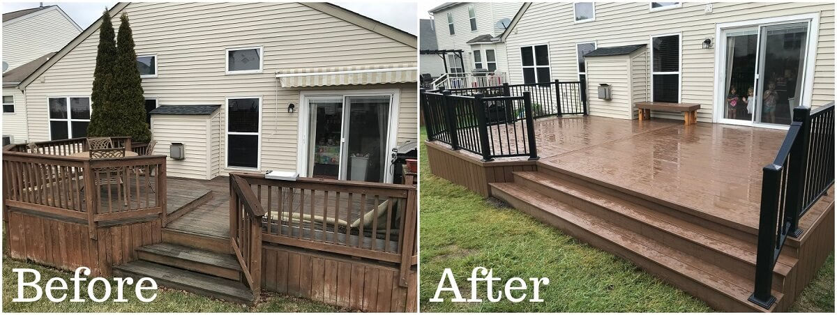 Before and after backyard wood deck