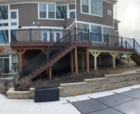 Custom deck with multi-direction staircase