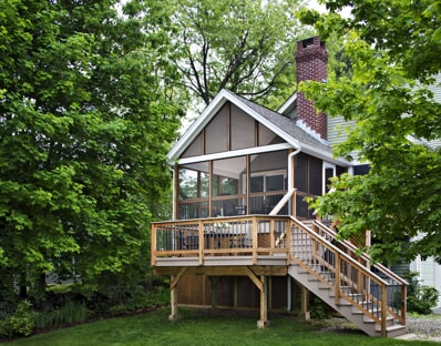 needham home with raised outdoor deck