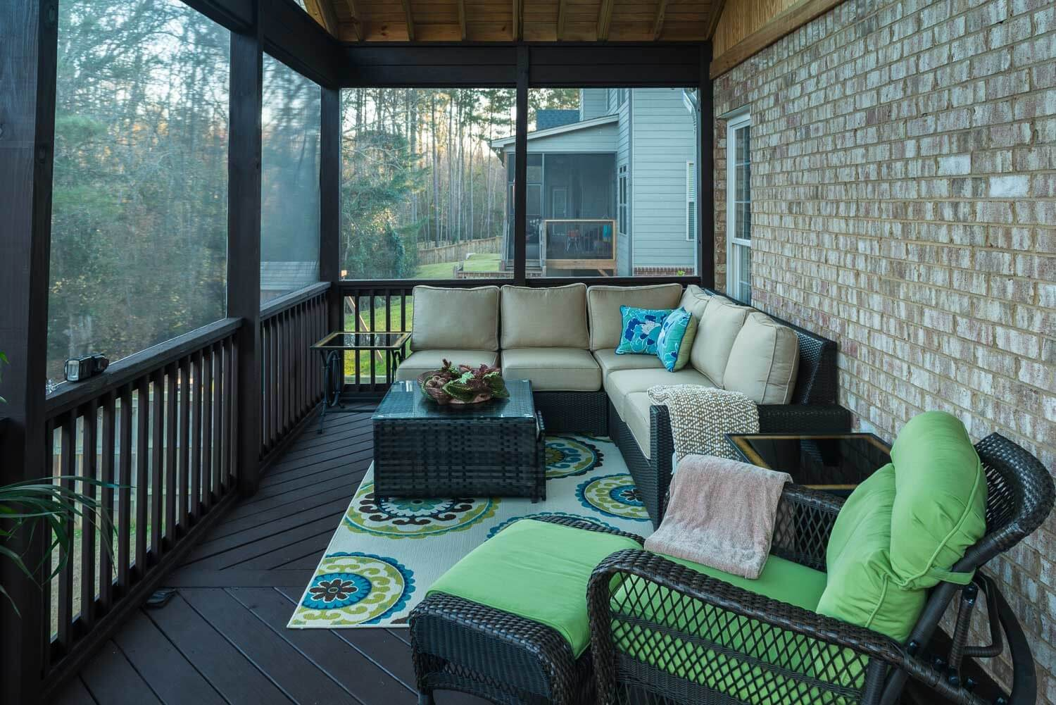 Seating area in screened in porch