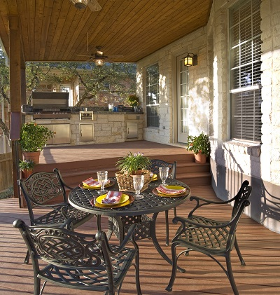 Deck, covered porch, and outdoor kitchen combination