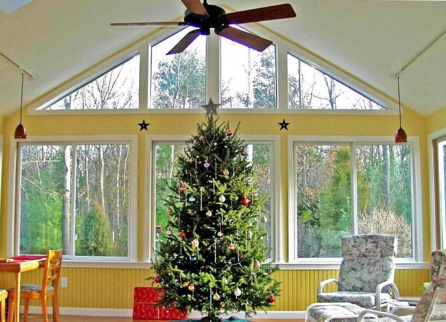 Custom screened porch with Christmas decors