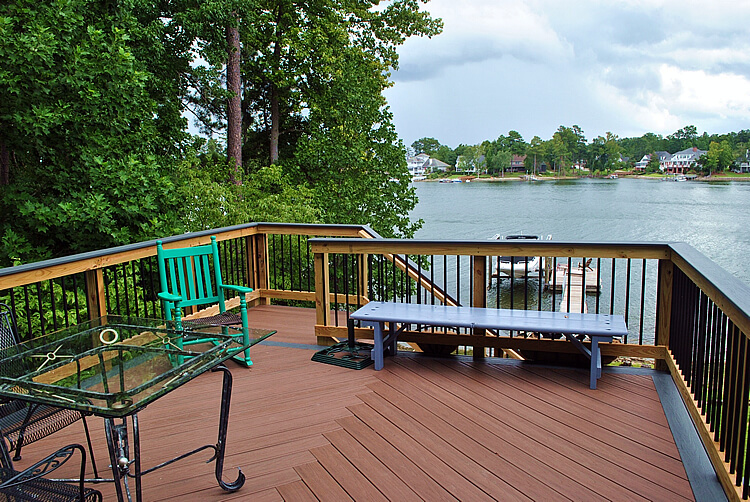 Custom wood deck overlooking water