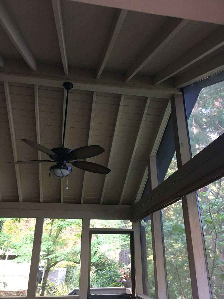 Porch ceiling detail and ceiling fan