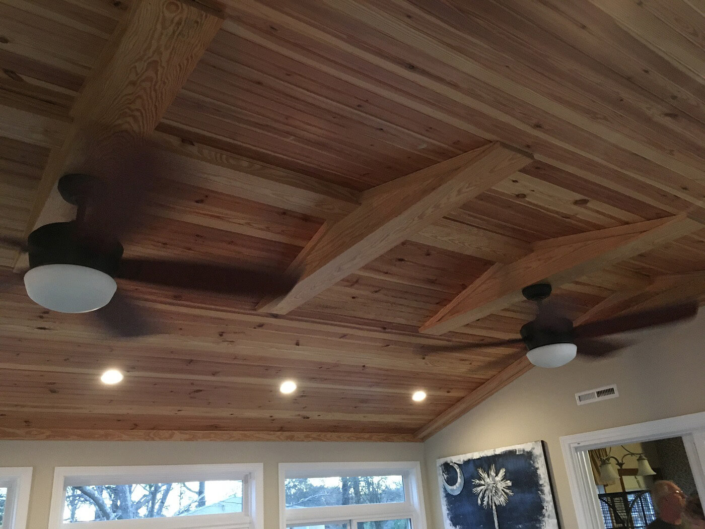 Sunroom ceiling with fan and lighting