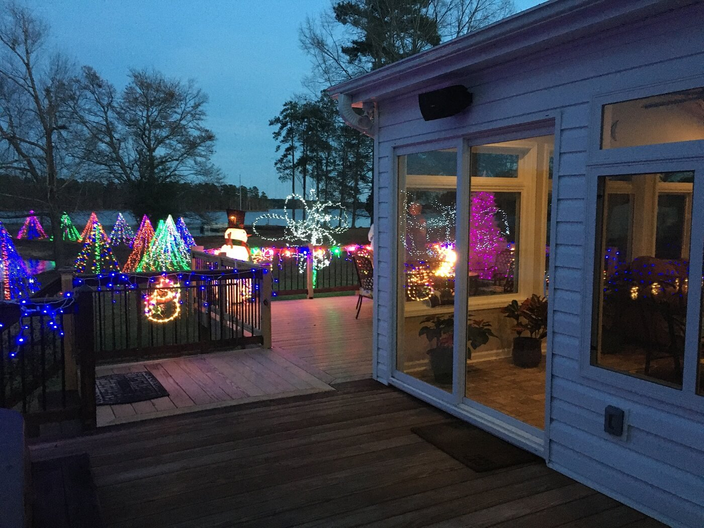 Wood deck with Christmas decors