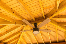 wood ceiling with fan