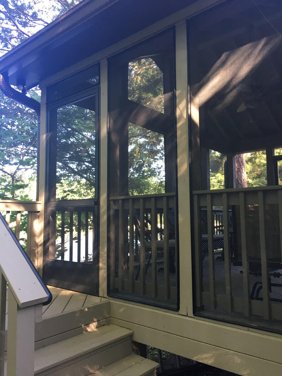 Detailed view of screened porch from outside