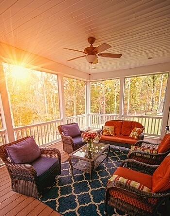 Cozy sunlit screened porch