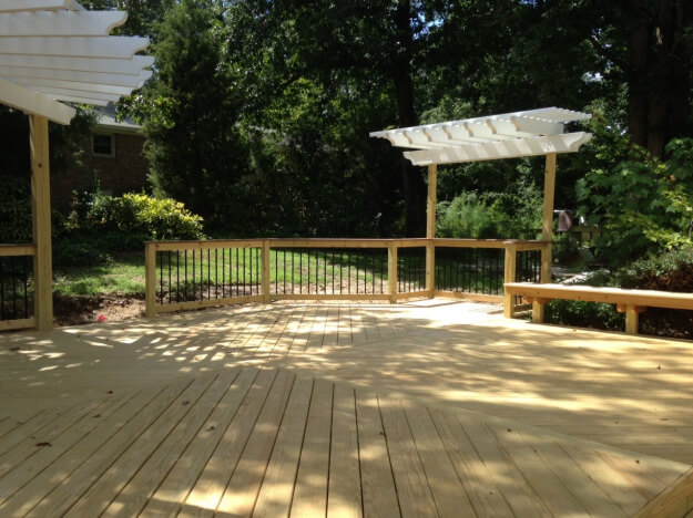 Double pergolas on West Columbia SC wooden deck by Archadeck of Central SC