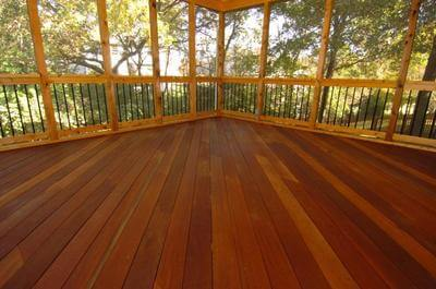 This screened porch features an Ipe floor.