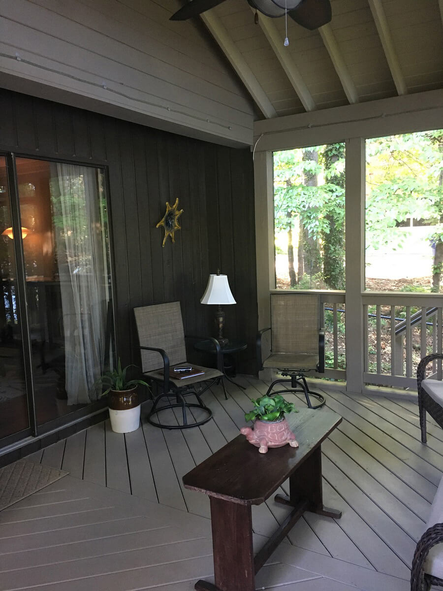 Seating area on screened porch