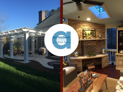 two outdoor living spaces with the archadeck logo over the middle