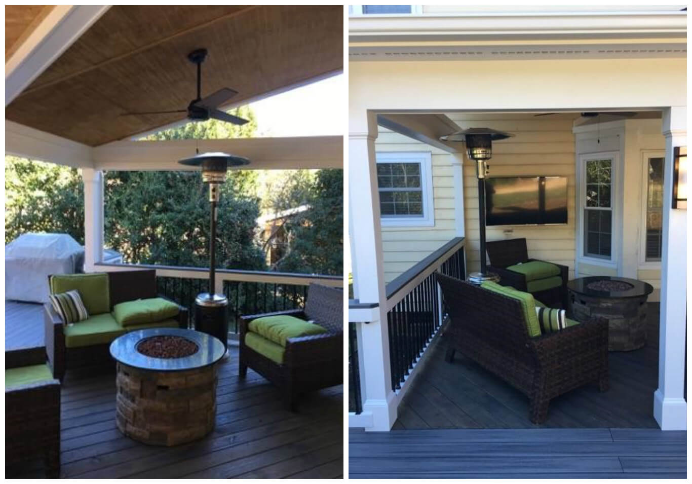 open porch with firepit, heating lamp and ceiling fan