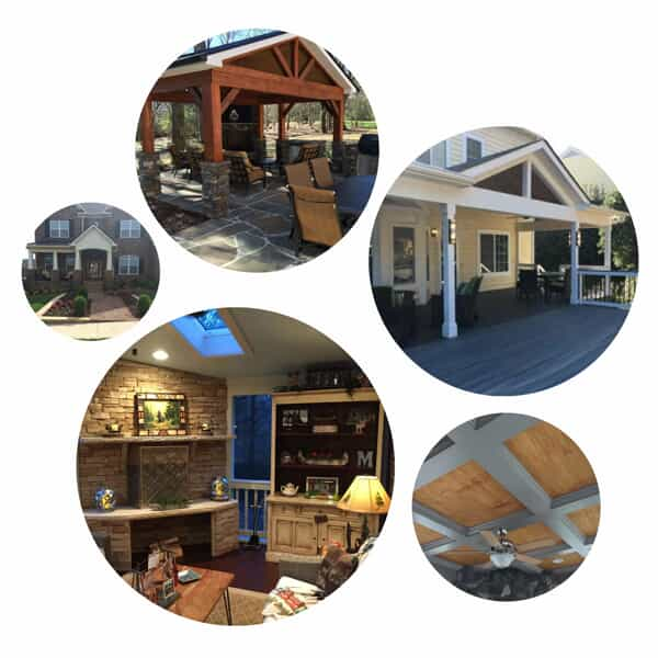 collage of 5 images showing various outdoor living structures i.e. a front porch and a backyard deck