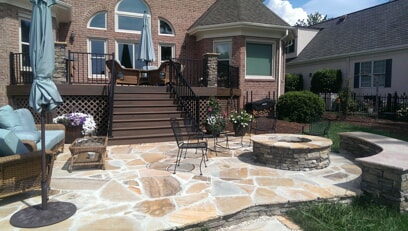 Charlotte Flagstone Patio With Trex Deck And Grand Stairs