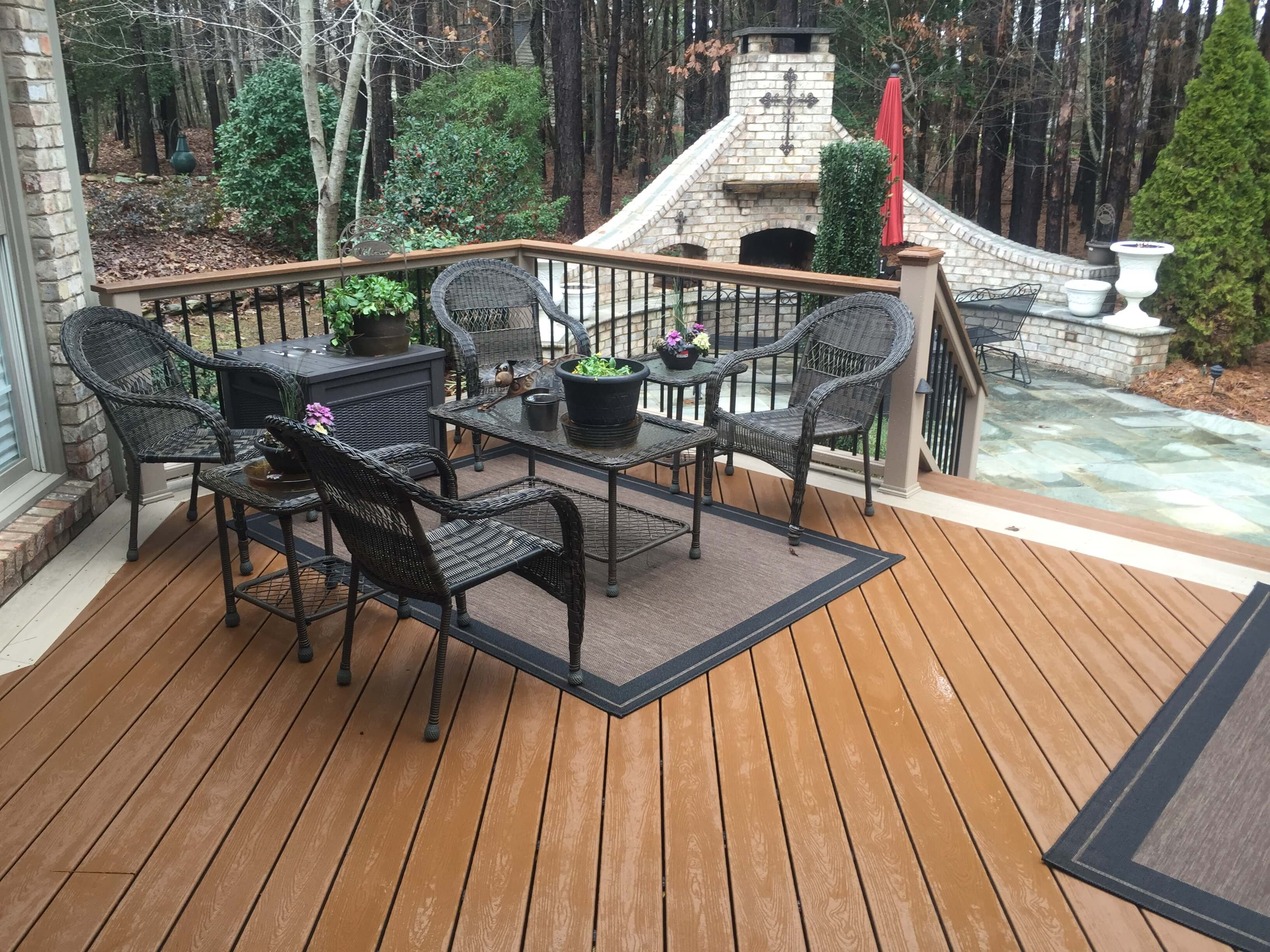 wood deck with outdoor fire place