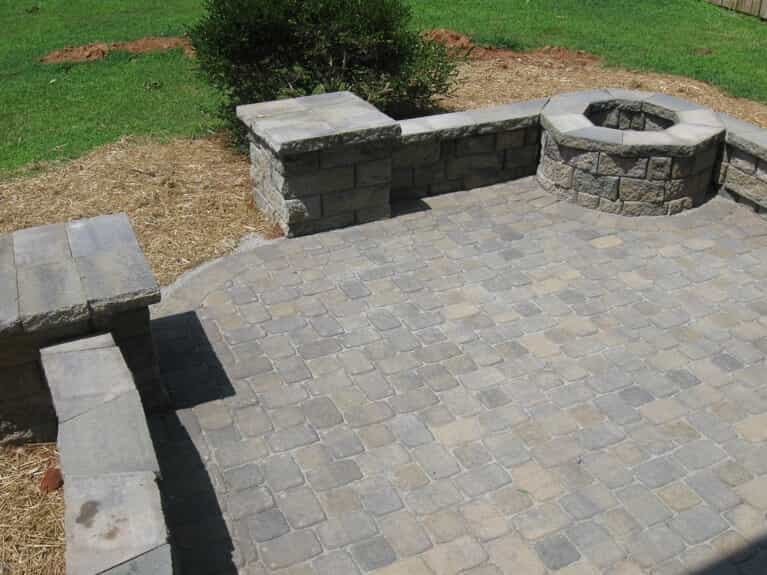 Paver patio with outdoor fire pit