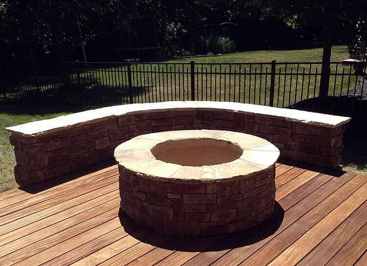 Tega Cay fire pit and seating wall